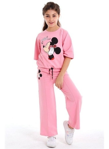 Riccotarz Kız Çocuk Boncuk Detaylı Mickey Mouse Alt Üst Takım Pembe